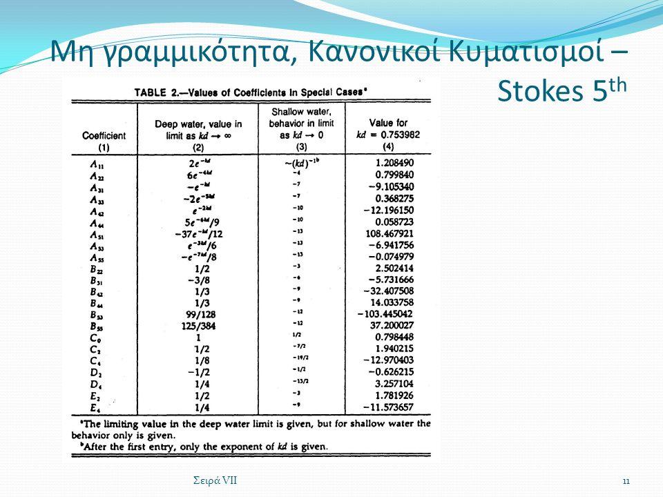 Μη γραμμικότητα, Κανονικοί Κυματισμοί – Stokes 5 th Σειρά VII11