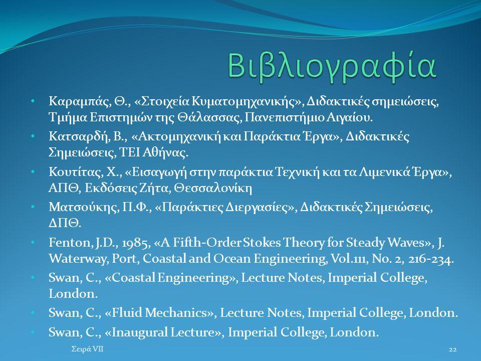 Καραμπάς, Θ., «Στοιχεία Κυματομηχανικής», Διδακτικές σημειώσεις, Τμήμα Επιστημών της Θάλασσας, Πανεπιστήμιο Αιγαίου.