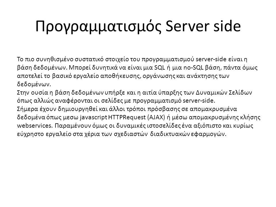 Προγραμματισμός Server side Το πιο συνηθισμένο συστατικό στοιχείο του προγραμματισμού server-side είναι η βάση δεδομένων.