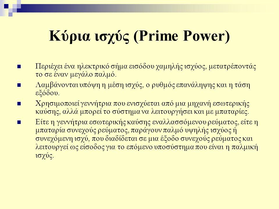 Κύρια ισχύς (Prime Power) Περιέχει ένα ηλεκτρικό σήμα εισόδου χαμηλής ισχύος, μετατρέποντάς το σε έναν μεγάλο παλμό. Λαμβάνονται υπόψη η μέση ισχύς, ο