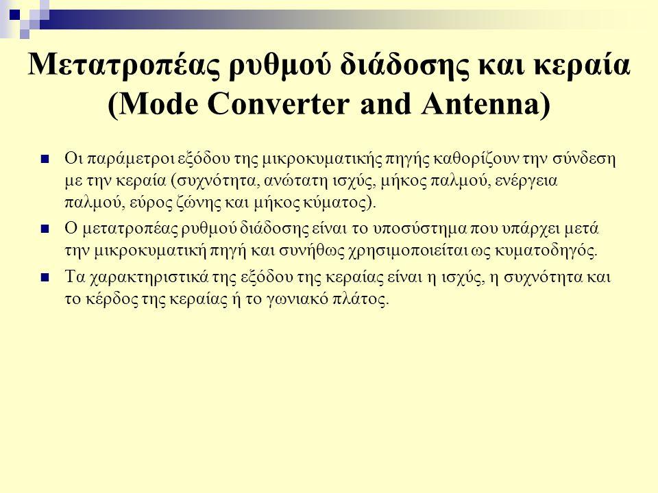 Μετατροπέας ρυθμού διάδοσης και κεραία (Mode Converter and Antenna) Οι παράμετροι εξόδου της μικροκυματικής πηγής καθορίζουν την σύνδεση με την κεραία (συχνότητα, ανώτατη ισχύς, μήκος παλμού, ενέργεια παλμού, εύρος ζώνης και μήκος κύματος).