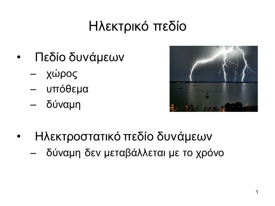 1 Ηλεκτρικό πεδίο Πεδίο δυνάμεων –χώρος –υπόθεμα –δύναμη Ηλεκτροστατικό πεδίο δυνάμεων –δύναμη δεν μεταβάλλεται με το χρόνο