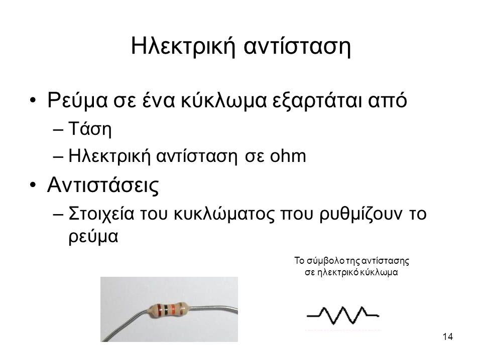 14 Ηλεκτρική αντίσταση Ρεύμα σε ένα κύκλωμα εξαρτάται από –Τάση –Ηλεκτρική αντίσταση σε ohm Αντιστάσεις –Στοιχεία του κυκλώματος που ρυθμίζουν το ρεύμ