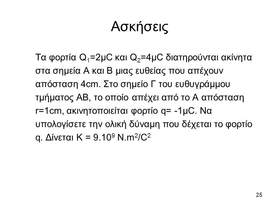 25 Ασκήσεις Τα φορτία Q 1 =2μC και Q 2 =4μC διατηρούνται ακίνητα στα σημεία Α και Β μιας ευθείας που απέχουν απόσταση 4cm. Στο σημείο Γ του ευθυγράμμο