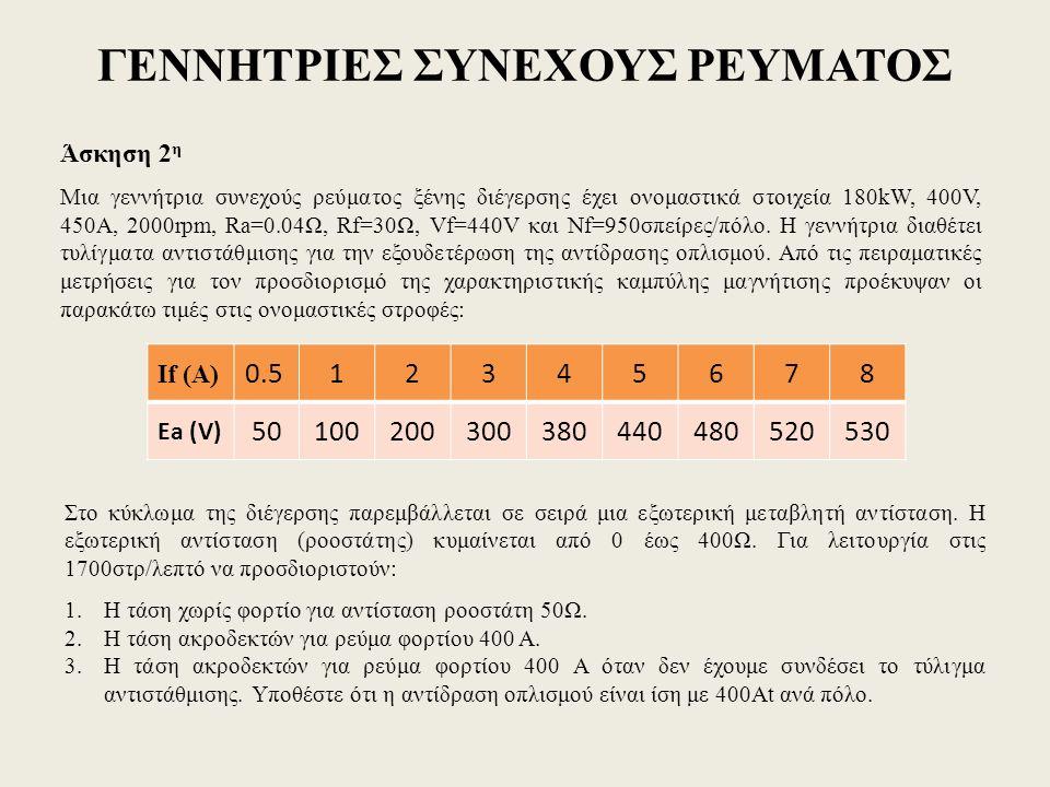 ΓΕΝΝΗΤΡΙΕΣ ΣΥΝΕΧΟΥΣ ΡΕΥΜΑΤΟΣ Άσκηση 2 η Μια γεννήτρια συνεχούς ρεύματος ξένης διέγερσης έχει ονομαστικά στοιχεία 180kW, 400V, 450A, 2000rpm, Ra=0.04Ω,