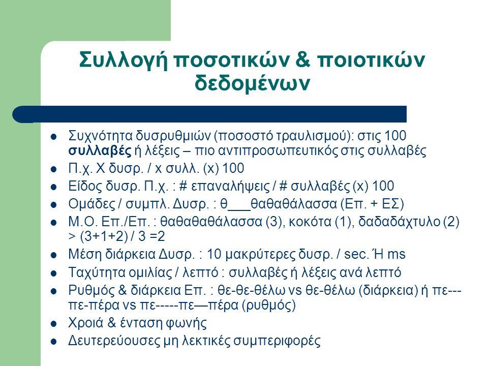 Συλλογή ποσοτικών & ποιοτικών δεδομένων Συχνότητα δυσρυθμιών (ποσοστό τραυλισμού): στις 100 συλλαβές ή λέξεις – πιο αντιπροσωπευτικός στις συλλαβές Π.χ.