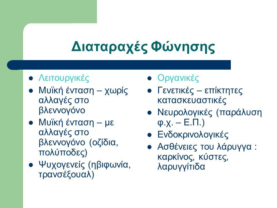 Διαταραχές Φώνησης Λειτουργικές Μυϊκή ένταση – χωρίς αλλαγές στο βλεννογόνο Μυϊκή ένταση – με αλλαγές στο βλεννογόνο (οζίδια, πολύποδες) Ψυχογενείς (ηβιφωνία, τρανσέξουαλ) Οργανικές Γενετικές – επίκτητες κατασκευαστικές Νευρολογικές (παράλυση φ.χ.