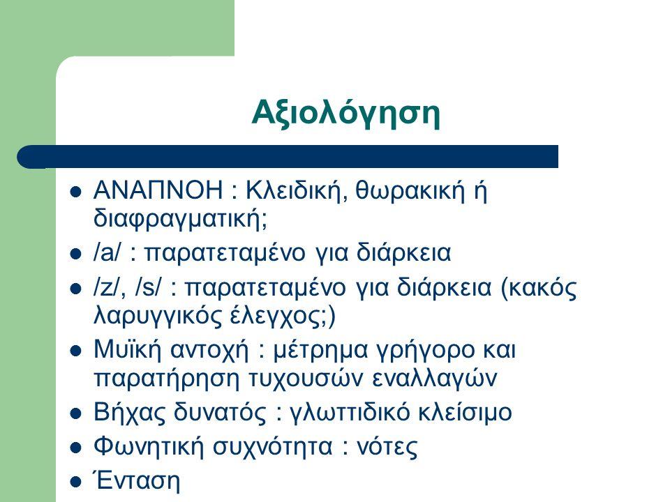 Αξιολόγηση ΑΝΑΠΝΟΗ : Κλειδική, θωρακική ή διαφραγματική; /a/ : παρατεταμένο για διάρκεια /z/, /s/ : παρατεταμένο για διάρκεια (κακός λαρυγγικός έλεγχος;) Μυϊκή αντοχή : μέτρημα γρήγορο και παρατήρηση τυχουσών εναλλαγών Βήχας δυνατός : γλωττιδικό κλείσιμο Φωνητική συχνότητα : νότες Ένταση