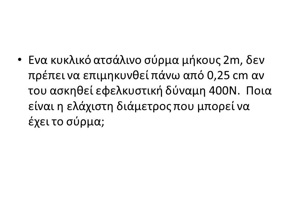 Ενα κυκλικό ατσάλινο σύρμα μήκους 2m, δεν πρέπει να επιμηκυνθεί πάνω από 0,25 cm αν του ασκηθεί εφελκυστική δύναμη 400N.