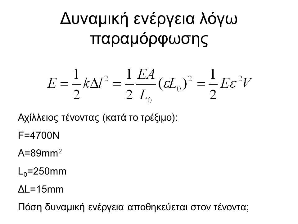 Δυναμική ενέργεια λόγω παραμόρφωσης Αχίλλειος τένοντας (κατά το τρέξιμο): F=4700N A=89mm 2 L 0 =250mm ΔL=15mm Πόση δυναμική ενέργεια αποθηκεύεται στον τένοντα;