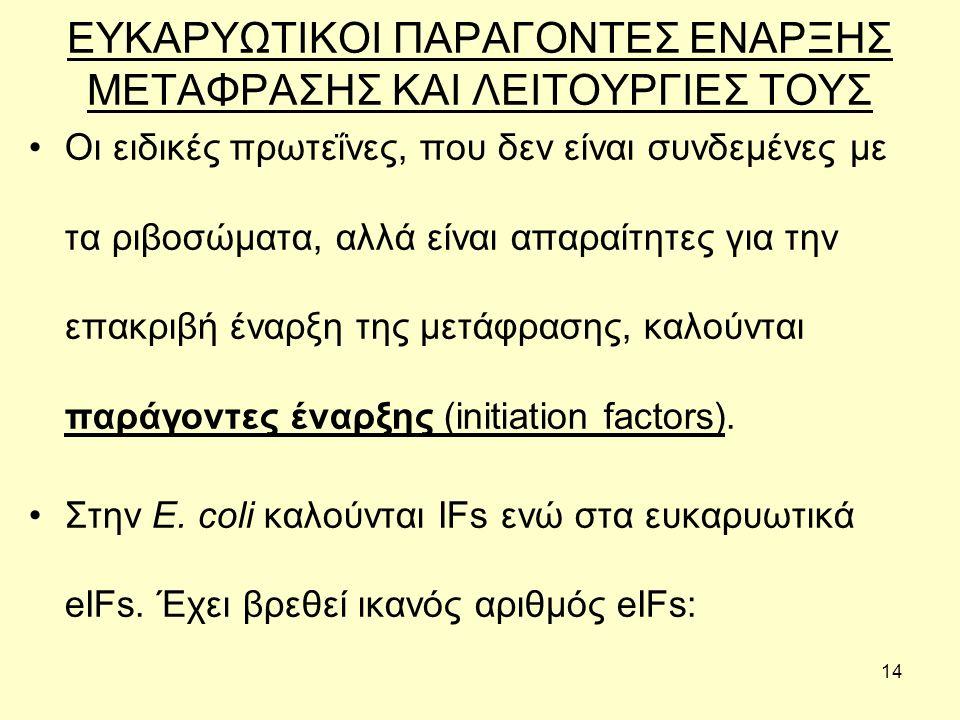 14 ΕΥΚΑΡΥΩΤΙΚΟΙ ΠΑΡΑΓΟΝΤΕΣ ΕΝΑΡΞΗΣ ΜΕΤΑΦΡΑΣΗΣ ΚΑΙ ΛΕΙΤΟΥΡΓΙΕΣ ΤΟΥΣ Οι ειδικές πρωτεΐνες, που δεν είναι συνδεμένες με τα ριβοσώματα, αλλά είναι απαραίτητες για την επακριβή έναρξη της μετάφρασης, καλούνται παράγοντες έναρξης (initiation factors).