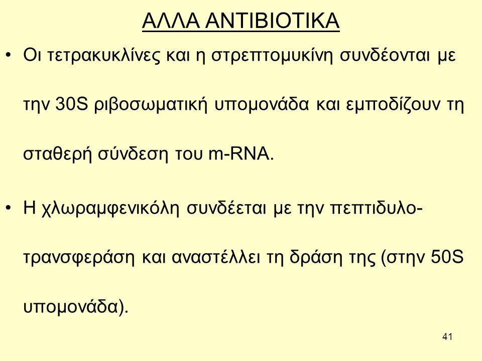 41 ΑΛΛΑ ΑΝΤΙΒΙΟΤΙΚΑ Οι τετρακυκλίνες και η στρεπτομυκίνη συνδέονται με την 30S ριβοσωματική υπομονάδα και εμποδίζουν τη σταθερή σύνδεση του m-RNA.