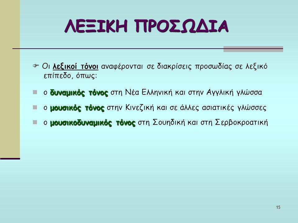 15 ΛΕΞΙΚΗ ΠΡΟΣΩΔΙΑ  Οι λεξικοί τόνοι αναφέρονται σε διακρίσεις προσωδίας σε λεξικό επίπεδο, όπως: δυναμικός τόνος ο δυναμικός τόνος στη Νέα Ελληνική και στην Αγγλική γλώσσα μουσικός τόνος ο μουσικός τόνος στην Κινεζική και σε άλλες ασιατικές γλώσσες μουσικοδυναμικός τόνος ο μουσικοδυναμικός τόνος στη Σουηδική και στη Σερβοκροατική