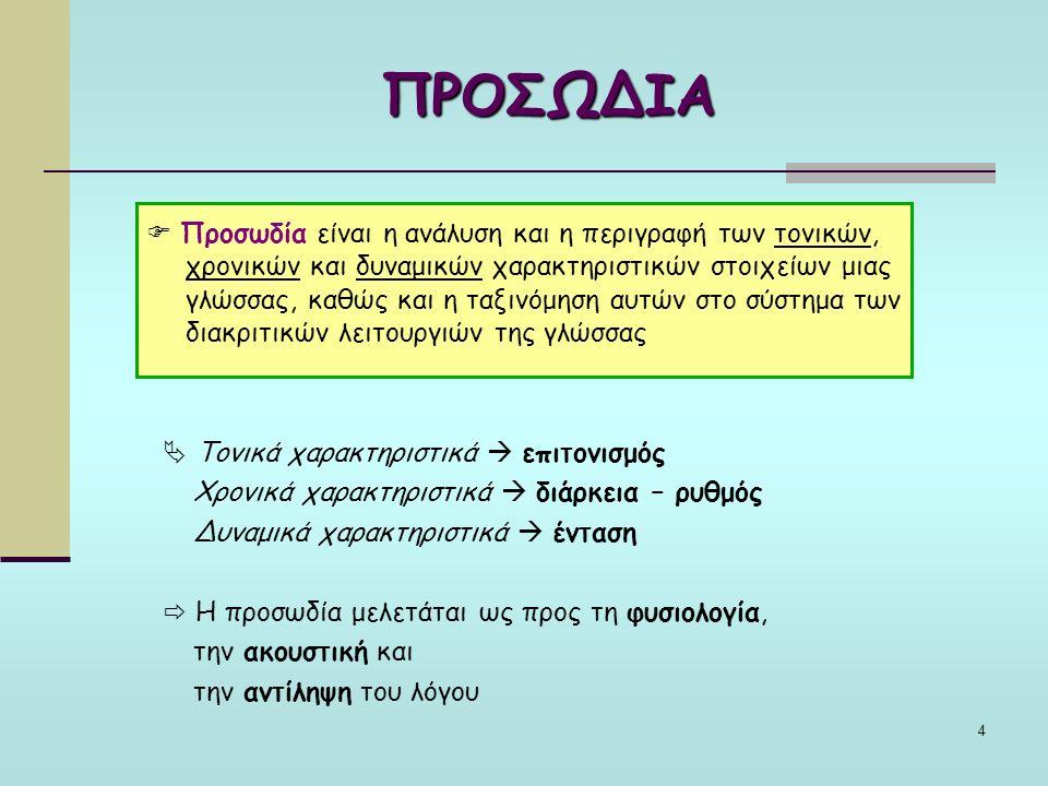 4 ΠΡΟΣΩΔΙΑ  Προσωδία είναι η ανάλυση και η περιγραφή των τονικών, χρονικών και δυναμικών χαρακτηριστικών στοιχείων μιας γλώσσας, καθώς και η ταξινόμηση αυτών στο σύστημα των διακριτικών λειτουργιών της γλώσσας  Τονικά χαρακτηριστικά  επιτονισμός Χρονικά χαρακτηριστικά  διάρκεια – ρυθμός Δυναμικά χαρακτηριστικά  ένταση  Η προσωδία μελετάται ως προς τη φυσιολογία, την ακουστική και την αντίληψη του λόγου