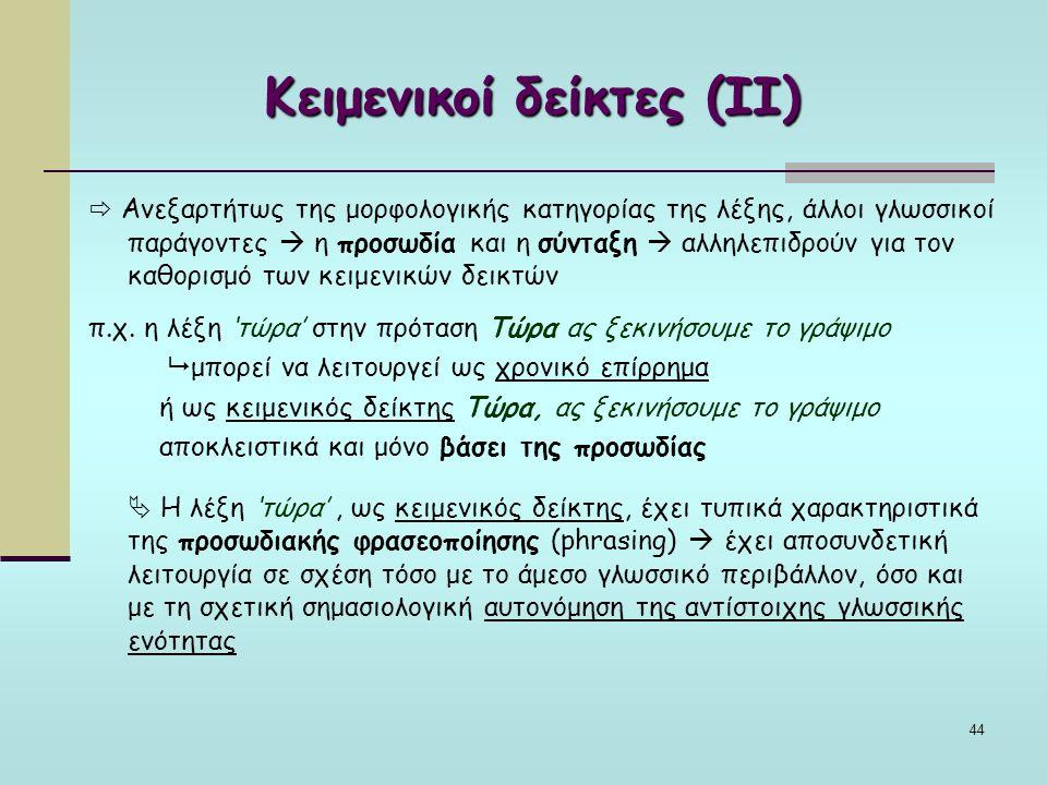 44 Κειμενικοί δείκτες (ΙΙ)  Ανεξαρτήτως της μορφολογικής κατηγορίας της λέξης, άλλοι γλωσσικοί παράγοντες  η προσωδία και η σύνταξη  αλληλεπιδρούν για τον καθορισμό των κειμενικών δεικτών π.χ.