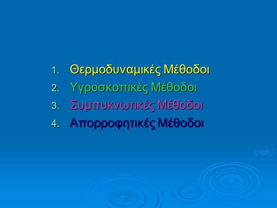 1. Θερμοδυναμικές Μέθοδοι 2. Υγροσκοπικές Μέθοδοι 3. Συμπυκνωτικές Μέθοδοι 4. Απορροφητικές Μέθοδοι