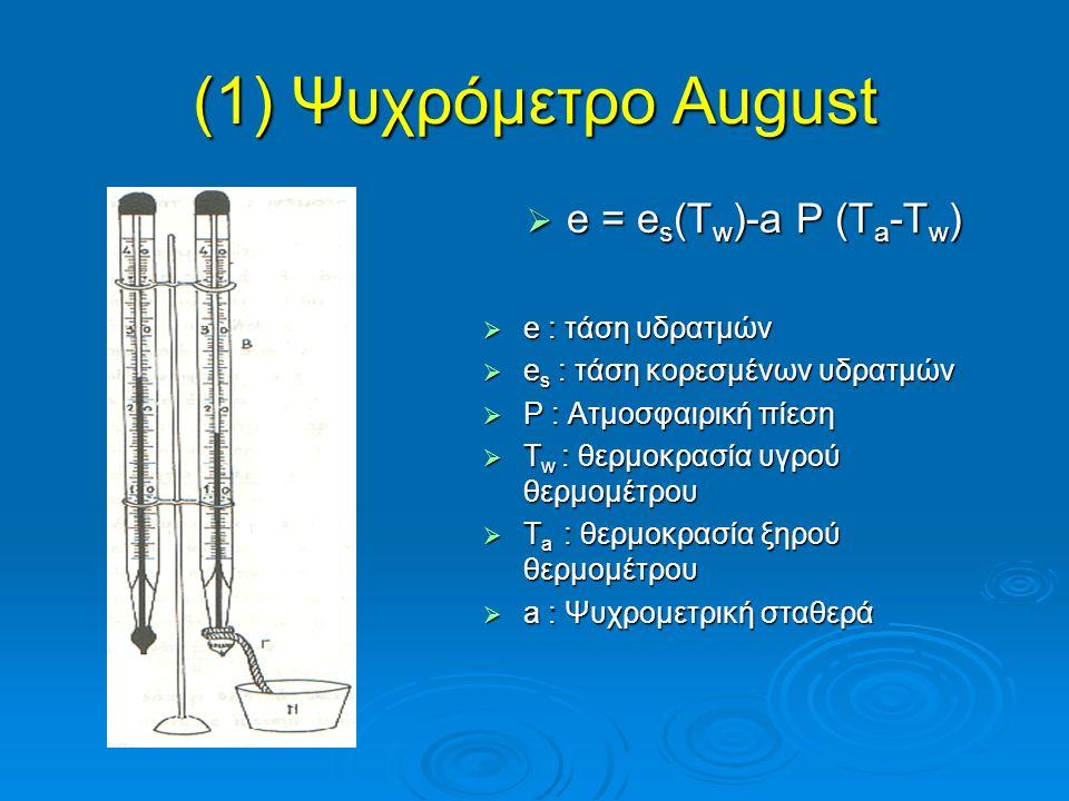(1) Ψυχρόμετρο August  e = e s (T w )-a P (T a -T w )  e : τάση υδρατμών  e s : τάση κορεσμένων υδρατμών  P : Ατμοσφαιρική πίεση  T w : θερμοκρασ