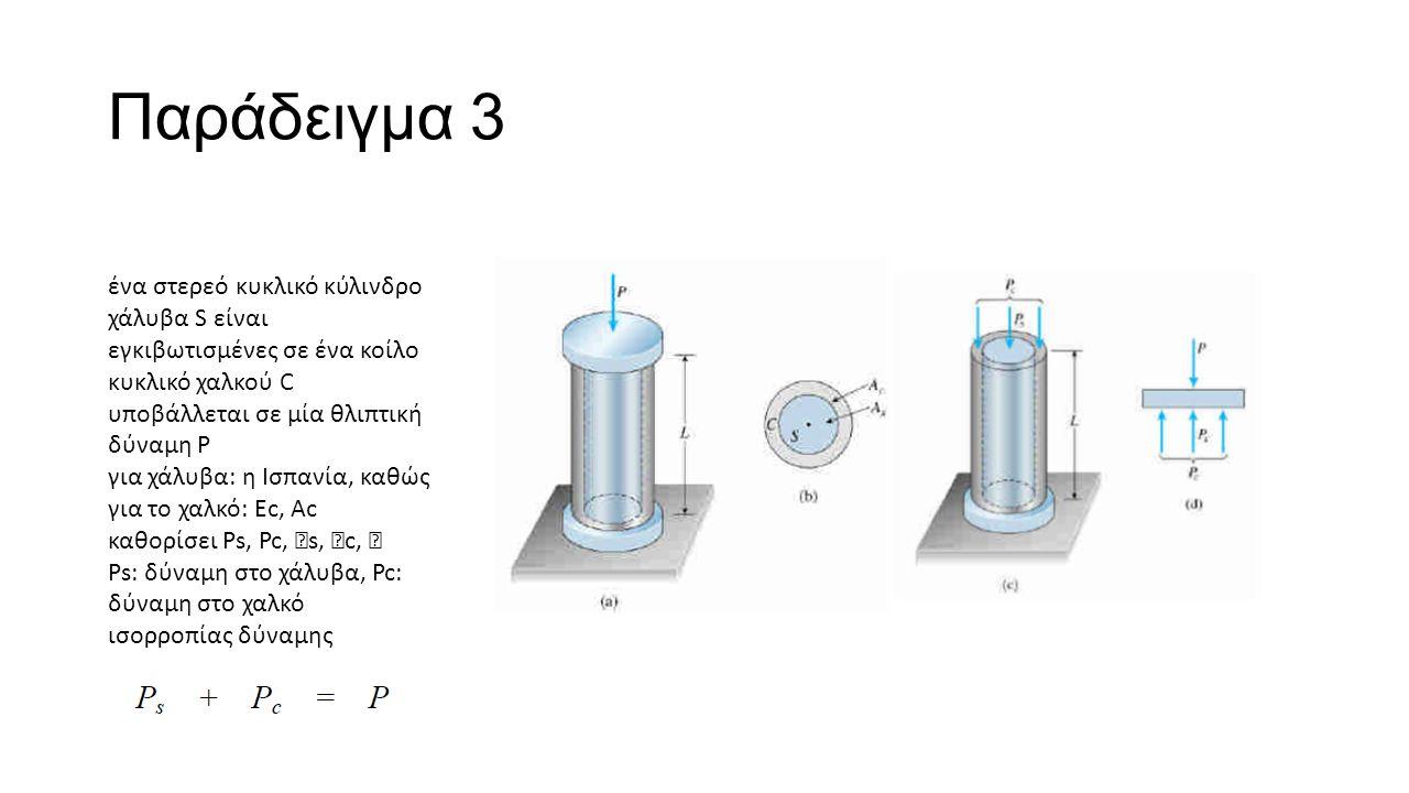 Παράδειγμα 3 ένα στερεό κυκλικό κύλινδρο χάλυβα S είναι εγκιβωτισμένες σε ένα κοίλο κυκλικό χαλκού C υποβάλλεται σε μία θλιπτική δύναμη P για χάλυβα: η Ισπανία, καθώς για το χαλκό: Ec, Ac καθορίσει Ps, Pc,  s,  c,  Ps: δύναμη στο χάλυβα, Pc: δύναμη στο χαλκό ισορροπίας δύναμης