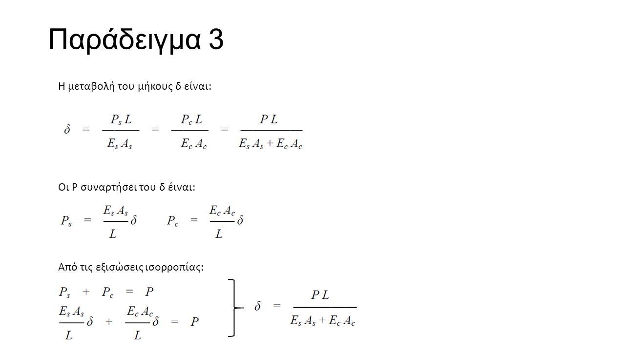 Παράδειγμα 3 Η μεταβολή του μήκους δ είναι: Οι Ρ συναρτήσει του δ έιναι: Από τις εξισώσεις ισορροπίας: