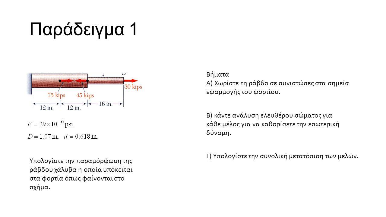 Παράδειγμα 1 Υπολογίστε την παραμόρφωση της ράβδου χάλυβα η οποία υπόκειται στα φορτία όπως φαίνονται στο σχήμα.