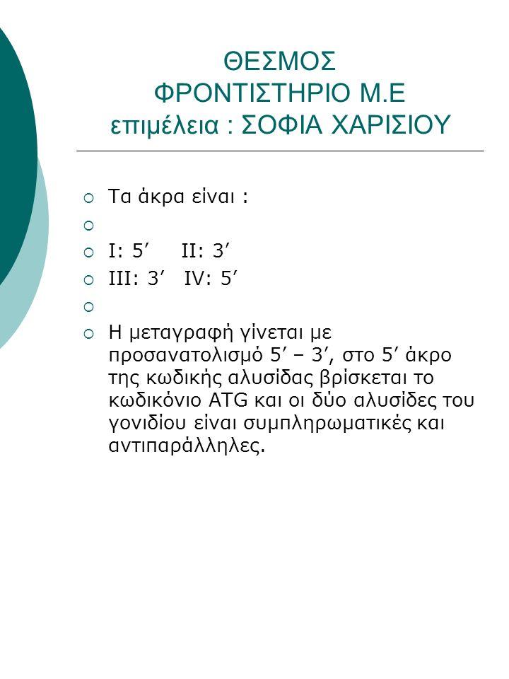 ΘΕΣΜΟΣ ΦΡΟΝΤΙΣΤΗΡΙΟ Μ.Ε επιμέλεια : ΣΟΦΙΑ ΧΑΡΙΣΙΟΥ  Τα άκρα είναι :   Ι: 5' ΙΙ: 3'  ΙΙΙ: 3' ΙV: 5'   Η μεταγραφή γίνεται με προσανατολισμό 5' – 3', στο 5' άκρο της κωδικής αλυσίδας βρίσκεται το κωδικόνιο ΑTG και οι δύο αλυσίδες του γονιδίου είναι συμπληρωματικές και αντιπαράλληλες.