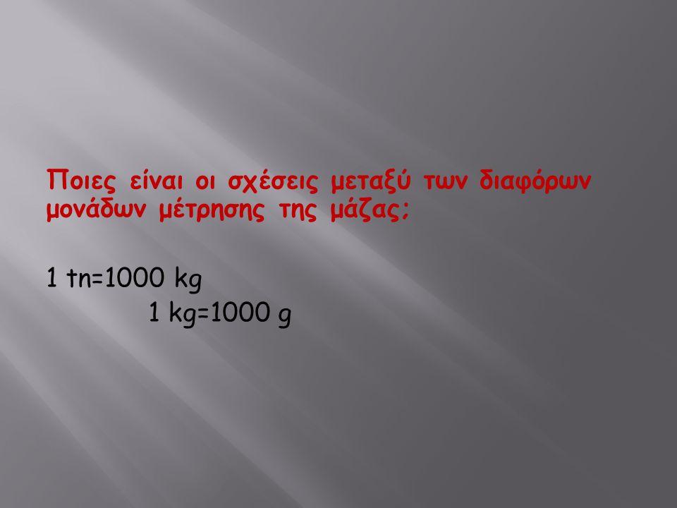 Ποιες είναι οι σχέσεις μεταξύ των διαφόρων μονάδων μέτρησης της μάζας; 1 tn=1000 kg 1 kg=1000 g