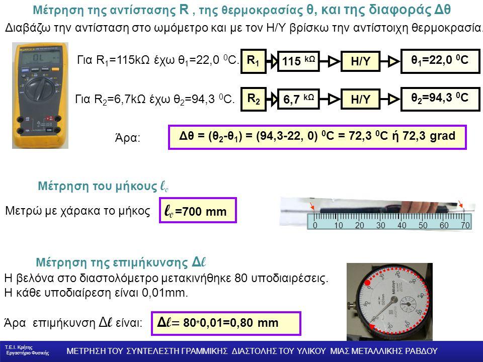 Μέτρηση της αντίστασης R, της θερμοκρασίας θ, και της διαφοράς Δθ Η βελόνα στο διαστολόμετρο μετακινήθηκε 80 υποδιαιρέσεις.