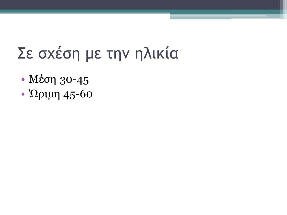 Σε σχέση με την ηλικία Μέση 30-45 Ώριμη 45-60