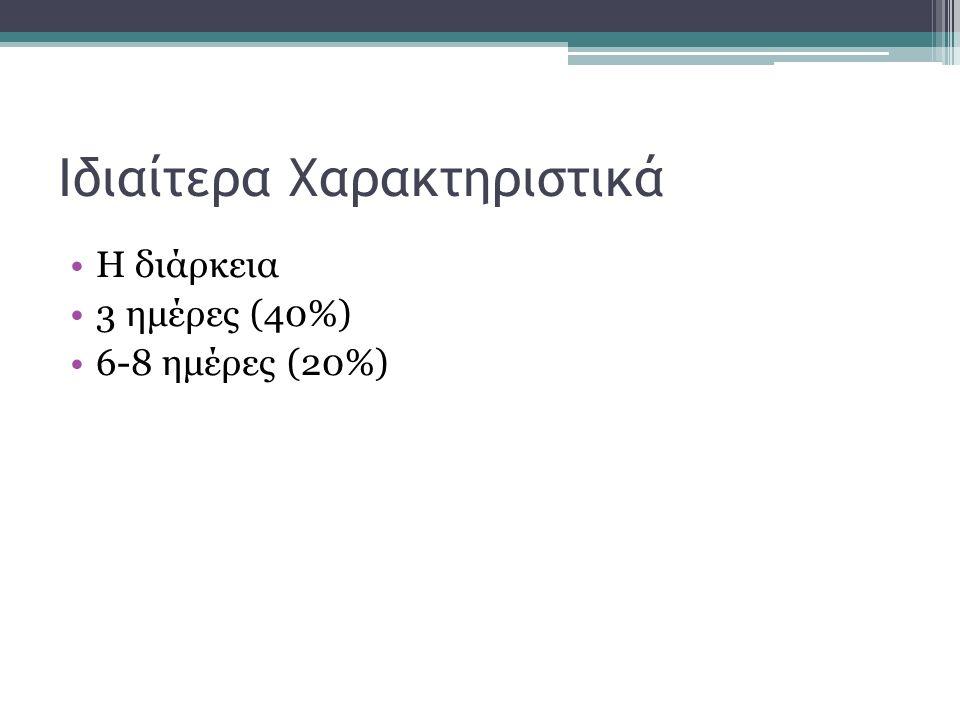 Ιδιαίτερα Χαρακτηριστικά Η διάρκεια 3 ημέρες (40%) 6-8 ημέρες (20%)
