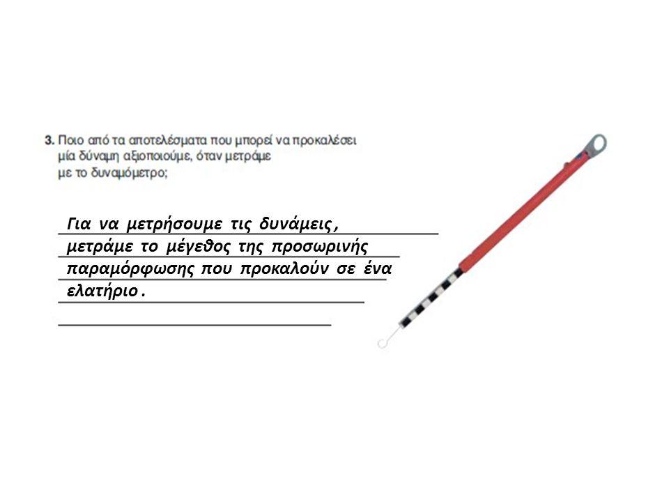 Για να μετρήσουμε τις δυνάμεις, μετράμε το μέγεθος της προσωρινής παραμόρφωσης που προκαλούν σε ένα ελατήριο.