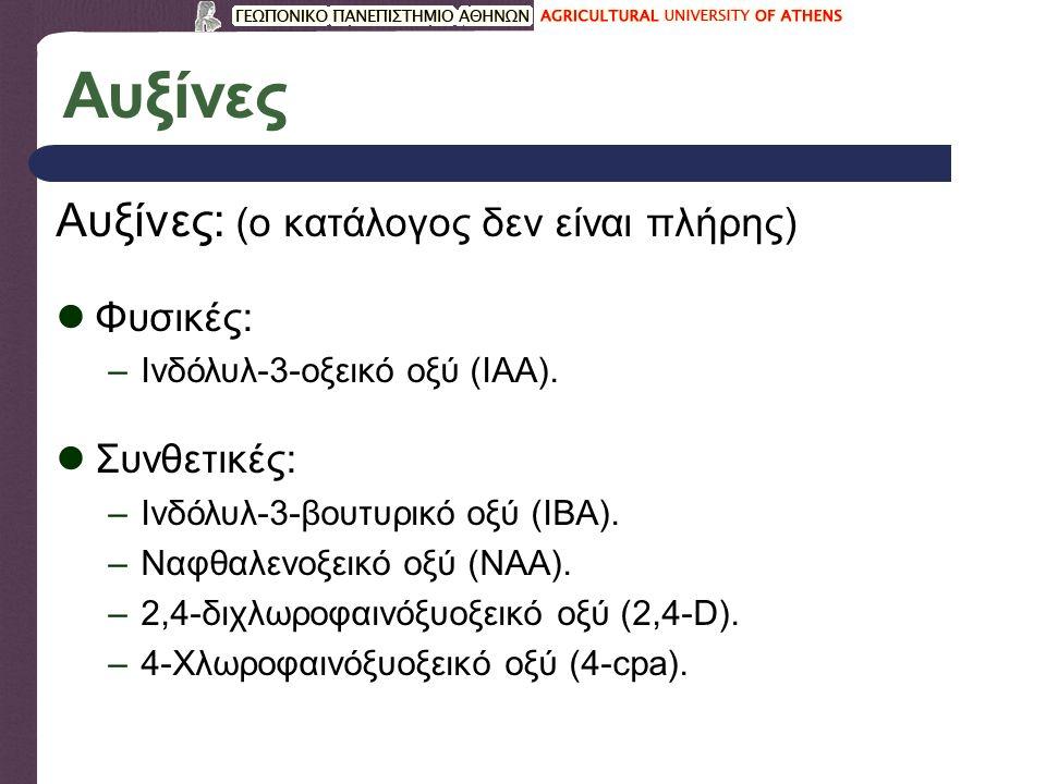 Αυξίνες Αυξίνες: (ο κατάλογος δεν είναι πλήρης) Φυσικές: –Ινδόλυλ-3-οξεικό οξύ (IAA).