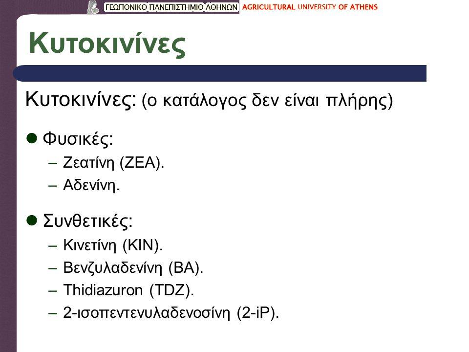 Κυτοκινίνες Κυτοκινίνες: (ο κατάλογος δεν είναι πλήρης) Φυσικές: –Ζεατίνη (ZEA).