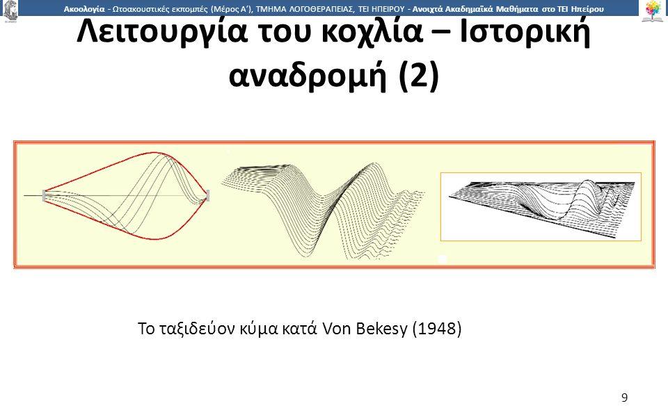 9 Ακοολογία - Ωτοακουστικές εκπομπές (Μέρος Α'), ΤΜΗΜΑ ΛΟΓΟΘΕΡΑΠΕΙΑΣ, ΤΕΙ ΗΠΕΙΡΟΥ - Ανοιχτά Ακαδημαϊκά Μαθήματα στο ΤΕΙ Ηπείρου Το ταξιδεύον κύμα κατά Von Bekesy (1948) 9 Λειτουργία του κοχλία – Ιστορική αναδρομή (2)