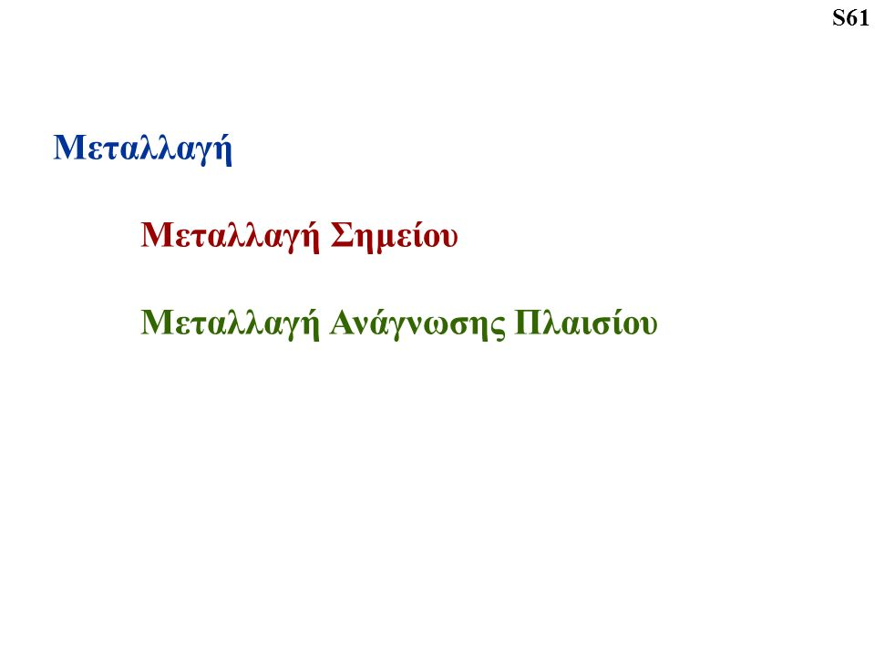 Μεταλλαγή Μεταλλαγή Σημείου Μεταλλαγή Ανάγνωσης Πλαισίου S61