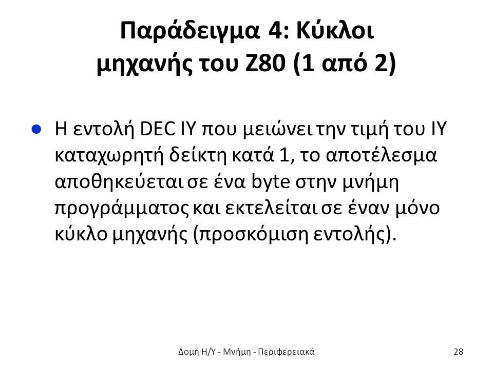 Παράδειγμα 4: Κύκλοι μηχανής του Ζ80 (1 από 2) ●Η εντολή DEC IY που μειώνει την τιμή του ΙΥ καταχωρητή δείκτη κατά 1, το αποτέλεσμα αποθηκεύεται σε ένα byte στην μνήμη προγράμματος και εκτελείται σε έναν μόνο κύκλο μηχανής (προσκόμιση εντολής).