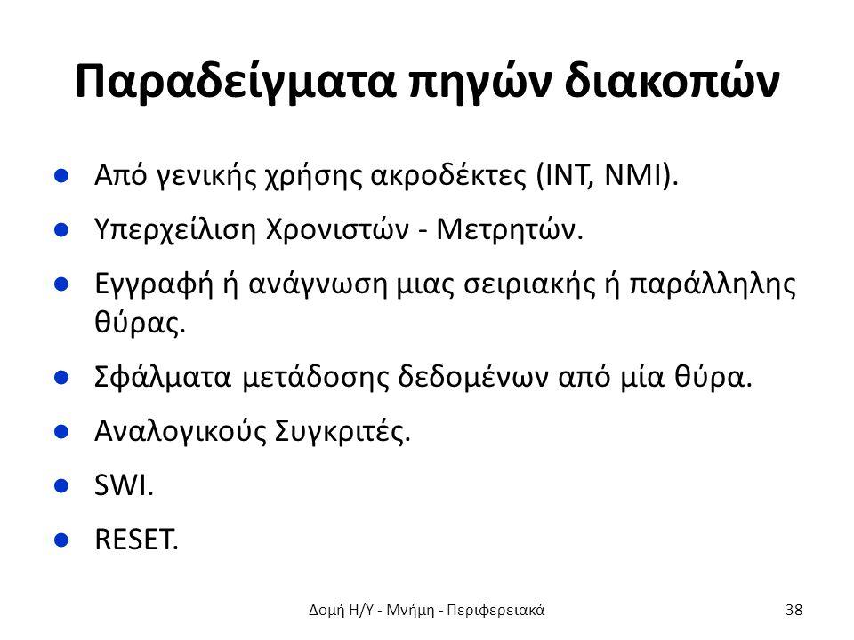 Παραδείγματα πηγών διακοπών ●Από γενικής χρήσης ακροδέκτες (INT, NMI). ●Υπερχείλιση Χρονιστών - Μετρητών. ●Εγγραφή ή ανάγνωση μιας σειριακής ή παράλλη