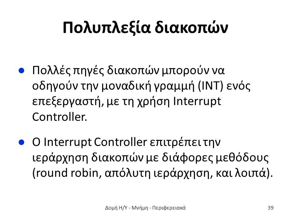 Πολυπλεξία διακοπών ●Πολλές πηγές διακοπών μπορούν να οδηγούν την μοναδική γραμμή (ΙΝΤ) ενός επεξεργαστή, με τη χρήση Interrupt Controller. ●Ο Interru
