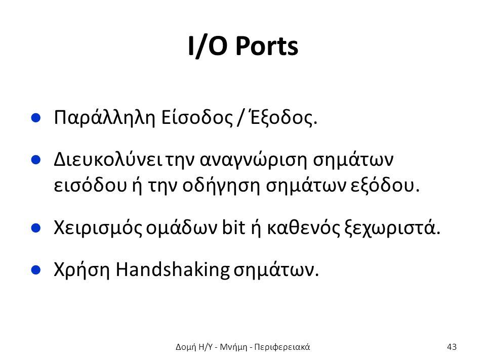 I/O Ports ●Παράλληλη Είσοδος / Έξοδος. ●Διευκολύνει την αναγνώριση σημάτων εισόδου ή την οδήγηση σημάτων εξόδου. ●Χειρισμός ομάδων bit ή καθενός ξεχωρ