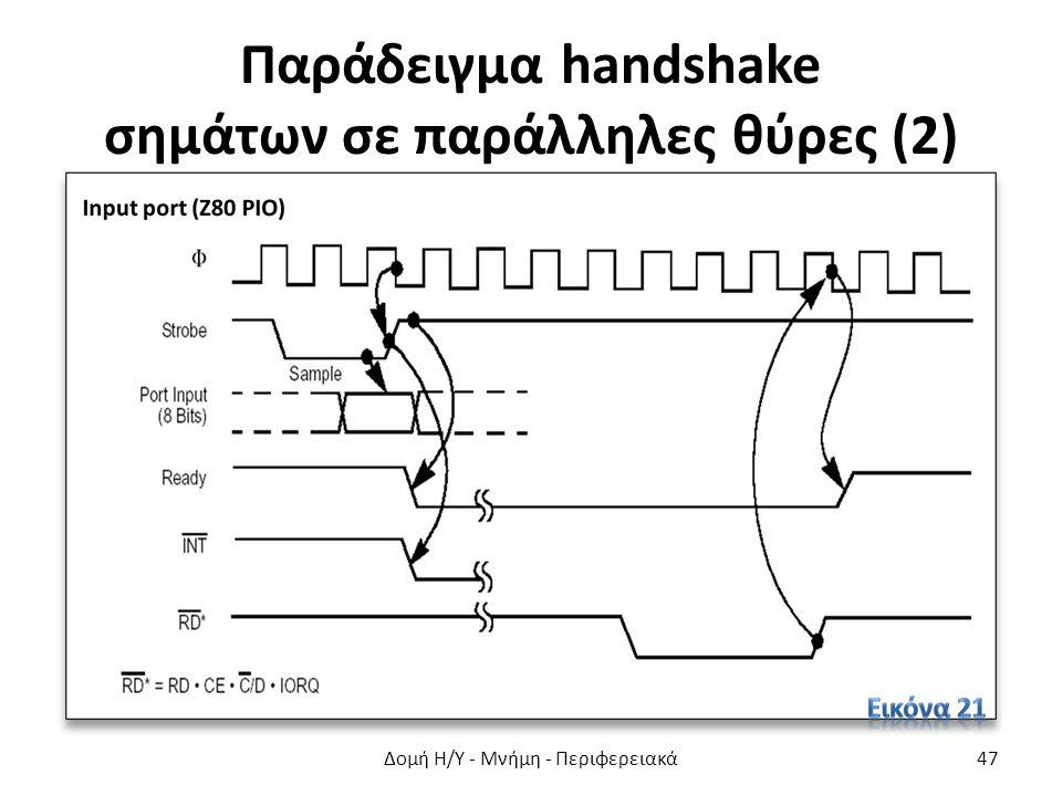 Παράδειγμα handshake σημάτων σε παράλληλες θύρες (2) Δομή Η/Υ - Μνήμη - Περιφερειακά47