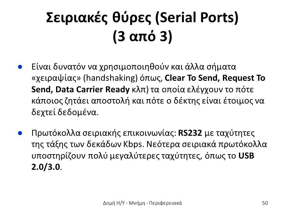 Σειριακές θύρες (Serial Ports) (3 από 3) ●Είναι δυνατόν να χρησιμοποιηθούν και άλλα σήματα «χειραψίας» (handshaking) όπως, Clear To Send, Request To S
