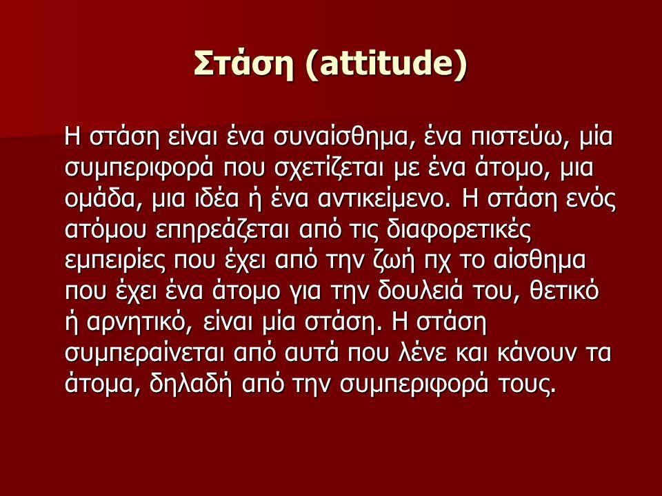 Στάση (attitude) Η στάση είναι ένα συναίσθημα, ένα πιστεύω, μία συμπεριφορά που σχετίζεται με ένα άτομο, μια ομάδα, μια ιδέα ή ένα αντικείμενο.