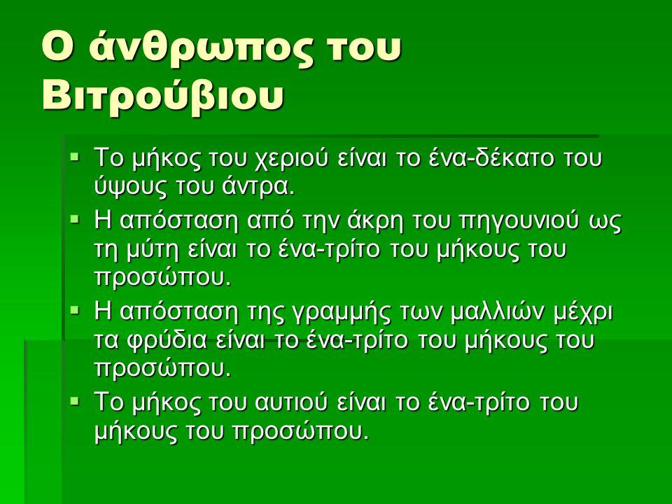 Ο άνθρωπος του Βιτρούβιου  Το μέγιστο πλάτος των ώμων είναι το ένα- τέταρτο του ύψους του άντρα  Η απόσταση του αγκώνα ως την άκρη του χεριού είναι