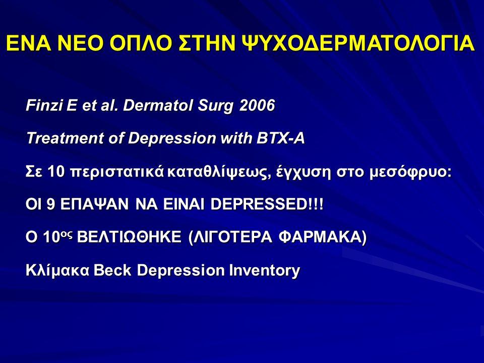 Finzi E et al. Dermatol Surg 2006 Treatment of Depression with BTX-A Σε 10 περιστατικά καταθλίψεως, έγχυση στο μεσόφρυο: ΟΙ 9 ΕΠΑΨΑΝ ΝΑ ΕΙΝΑΙ DEPRESSE