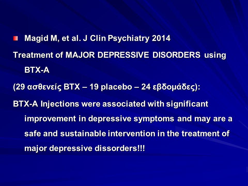 Magid M, et al. J Clin Psychiatry 2014 Treatment of MAJOR DEPRESSIVE DISORDERS using BTX-A (29 ασθενείς BTX – 19 placebo – 24 εβδομάδες): BTX-A Inject