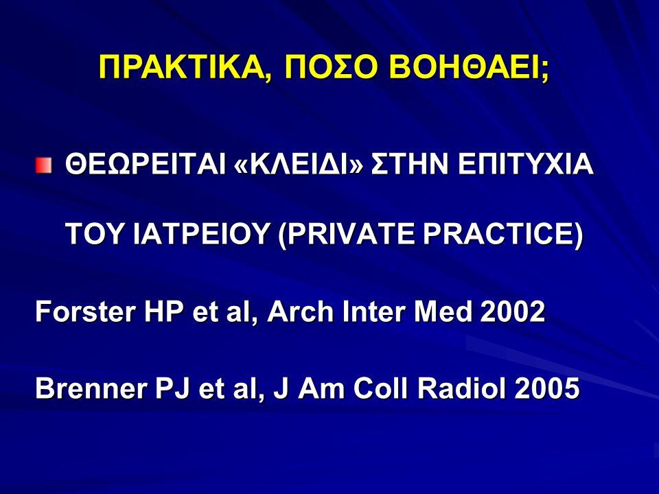 ΘΕΩΡΕΙΤΑΙ «ΚΛΕΙΔΙ» ΣΤΗΝ ΕΠΙΤΥΧΙΑ ΤΟΥ ΙΑΤΡΕΙΟΥ (PRIVATE PRACTICE) Forster HP et al, Arch Inter Med 2002 Brenner PJ et al, J Am Coll Radiol 2005 ΠΡΑΚΤΙΚ
