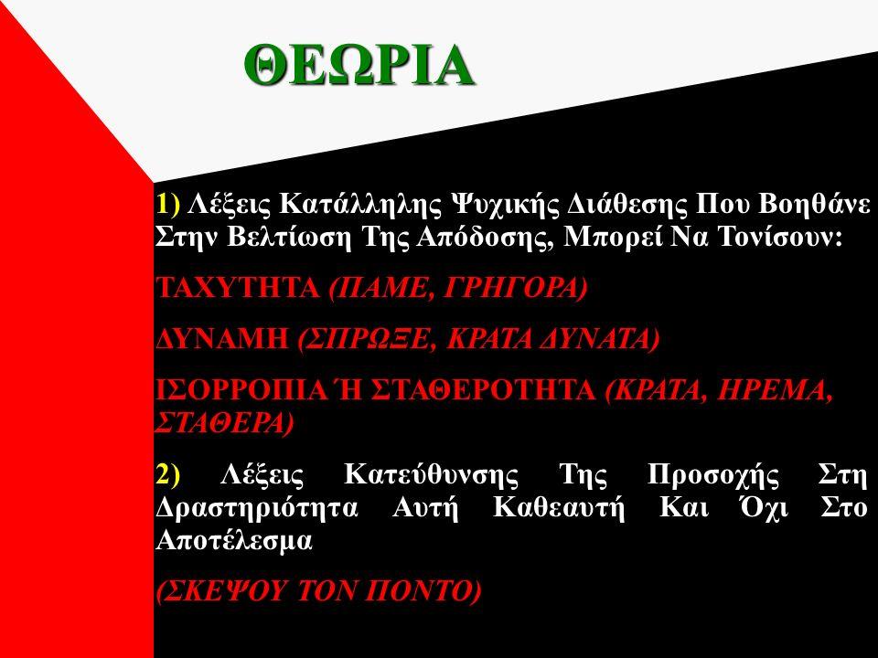 ΘΕΩΡΙΑ 1) Λέξεις Κατάλληλης Ψυχικής Διάθεσης Που Βοηθάνε Στην Βελτίωση Της Απόδοσης, Μπορεί Να Τονίσουν: ΤΑΧΥΤΗΤΑ (ΠΑΜΕ, ΓΡΗΓΟΡΑ) ΔΥΝΑΜΗ (ΣΠΡΩΞΕ, ΚΡΑΤΑ ΔΥΝΑΤΑ) ΙΣΟΡΡΟΠΙΑ Ή ΣΤΑΘΕΡΟΤΗΤΑ (ΚΡΑΤΑ, ΗΡΕΜΑ, ΣΤΑΘΕΡΑ) 2) Λέξεις Κατεύθυνσης Της Προσοχής Στη Δραστηριότητα Αυτή Καθεαυτή Και Όχι Στο Αποτέλεσμα (ΣΚΕΨΟΥ ΤΟΝ ΠΟΝΤΟ)