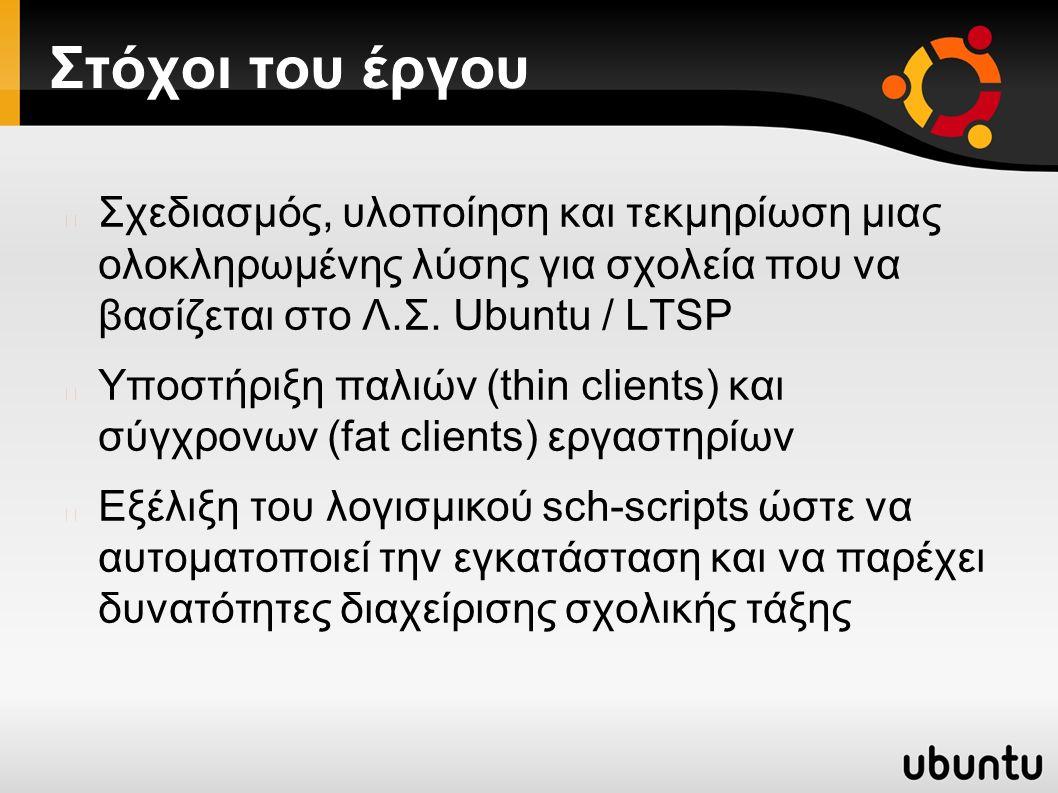 Γιατί Ubuntu / LTSP; Ελεύθερο, επιτρέπεται προσαρμογή και αναδιανομή Δουλεύει παράλληλα με υπάρχουσες εγκαταστάσεις Κατάλληλο για αρχαία εργαστήρια (thin clients), π.χ.