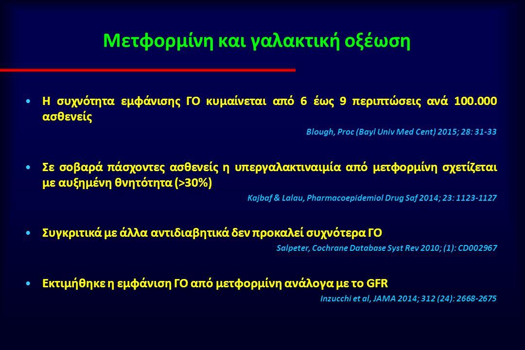 Μετφορμίνη και γαλακτική οξέωση Η συχνότητα εμφάνισης ΓΟ κυμαίνεται από 6 έως 9 περιπτώσεις ανά 100.000 ασθενείς Blough, Proc (Bayl Univ Med Cent) 2015; 28: 31-33 Σε σοβαρά πάσχοντες ασθενείς η υπεργαλακτιναιμία από μετφορμίνη σχετίζεται με αυξημένη θνητότητα (>30%) Kajbaf & Lalau, Pharmacoepidemiol Drug Saf 2014; 23: 1123-1127 Συγκριτικά με άλλα αντιδιαβητικά δεν προκαλεί συχνότερα ΓΟ Salpeter, Cochrane Database Syst Rev 2010; (1): CD002967 Εκτιμήθηκε η εμφάνιση ΓΟ από μετφορμίνη ανάλογα με το GFR Inzucchi et al, JAMA 2014; 312 (24): 2668-2675