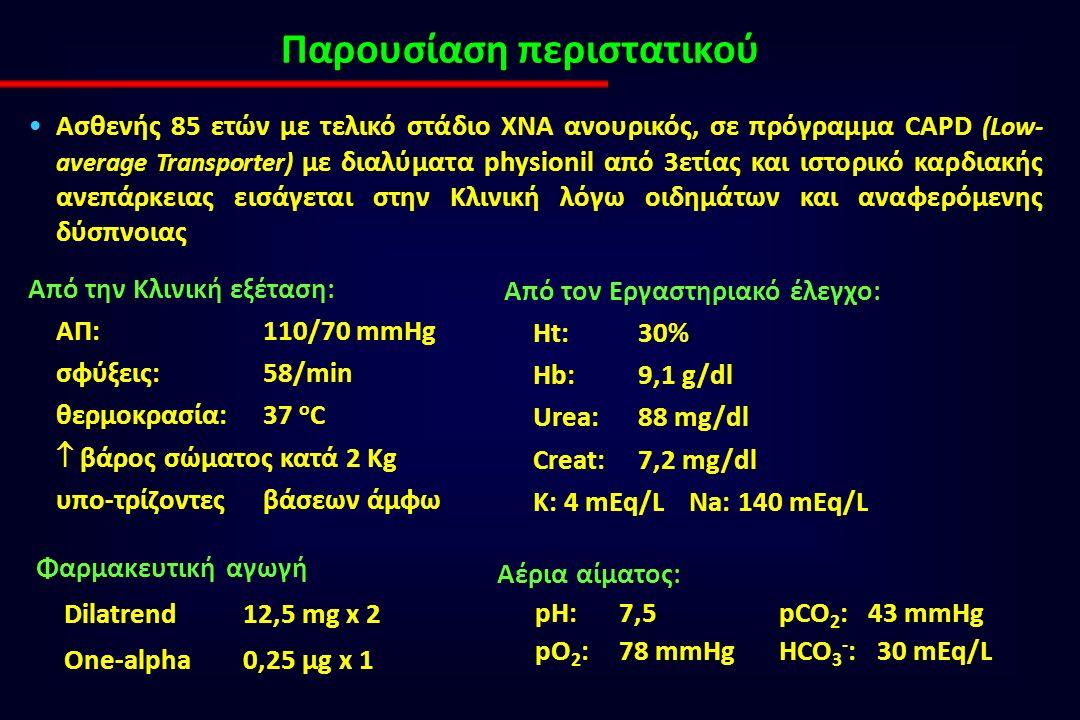Παρουσίαση περιστατικού Ασθενής 85 ετών με τελικό στάδιο ΧΝΑ ανουρικός, σε πρόγραμμα CAPD (Low- average Transporter) με διαλύματα physionil από 3ετίας και ιστορικό καρδιακής ανεπάρκειας εισάγεται στην Κλινική λόγω οιδημάτων και αναφερόμενης δύσπνοιας Από την Κλινική εξέταση: ΑΠ: 110/70 mmHg σφύξεις: 58/min θερμοκρασία: 37 ο C  βάρος σώματος κατά 2 Kg υπο-τρίζοντες βάσεων άμφω Από τον Εργαστηριακό έλεγχο: Ht: 30% Hb: 9,1 g/dl Urea: 88 mg/dl Creat: 7,2 mg/dl K: 4 mEq/L Na: 140 mEq/L Φαρμακευτική αγωγή Dilatrend 12,5 mg x 2 One-alpha 0,25 μg x 1 Αέρια αίματος: pH:7,5pCO 2 : 43 mmHg pO 2 :78 mmHgHCO 3 - : 30 mEq/L