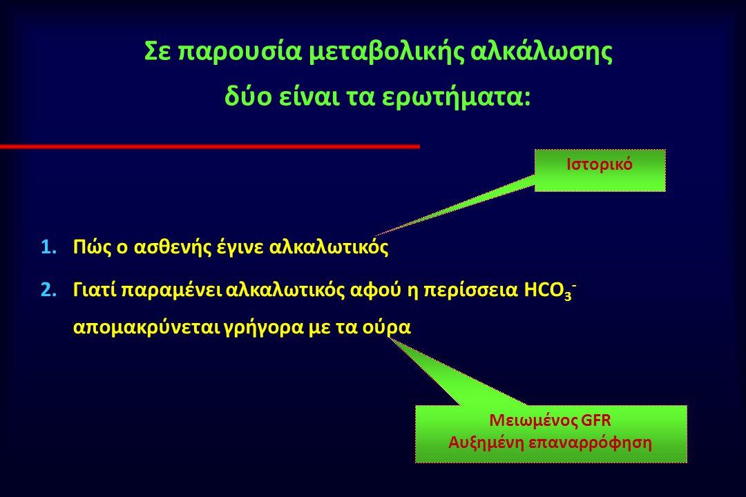 Σε παρουσία μεταβολικής αλκάλωσης δύο είναι τα ερωτήματα: 1.Πώς ο ασθενής έγινε αλκαλωτικός 2.Γιατί παραμένει αλκαλωτικός αφού η περίσσεια HCO 3 - απομακρύνεται γρήγορα με τα ούρα Ιστορικό Μειωμένος GFR Αυξημένη επαναρρόφηση
